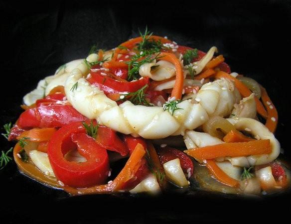 Рецепт кальмаров с овощами